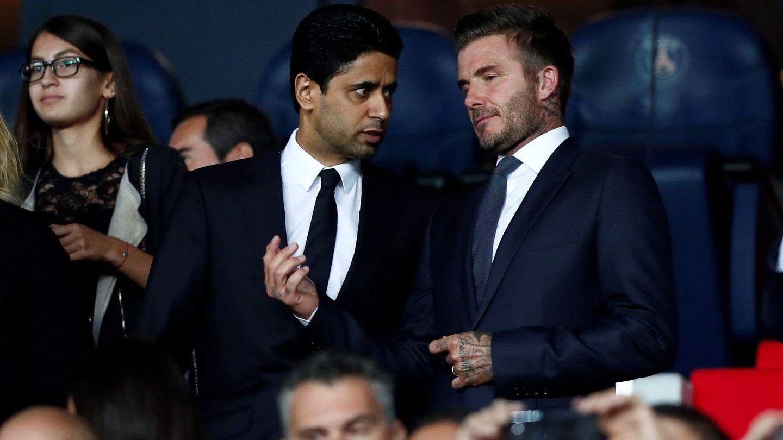 Beckham, con Al-Khelaifi, presidente del PSG. (EFE)
