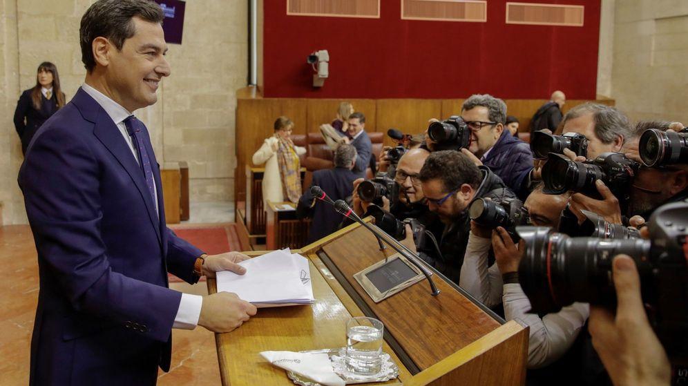 Foto: Juanma Moreno, durante el discurso de investidura. (EFE)
