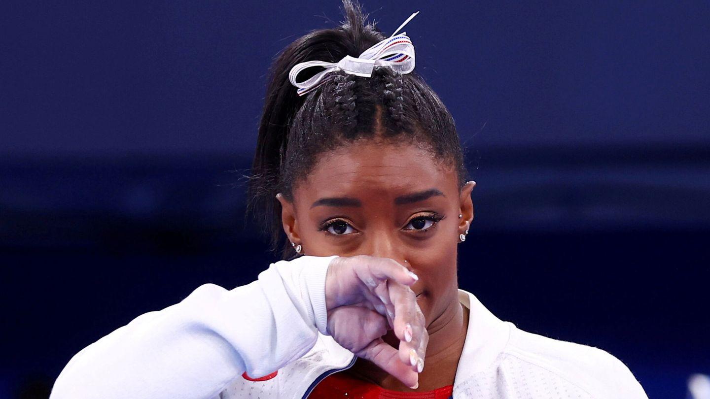 Simone Biles, durante una final en los Juegos de Tokio. (REUTERS)
