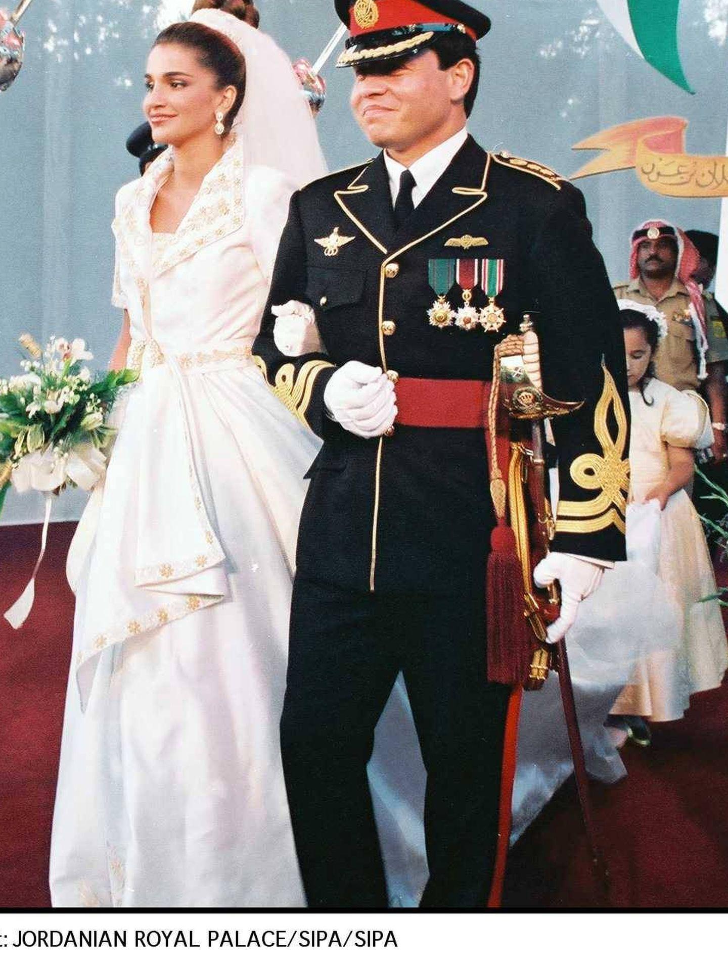 Rania de Jordania, el día de su boda. (Cordon Press)