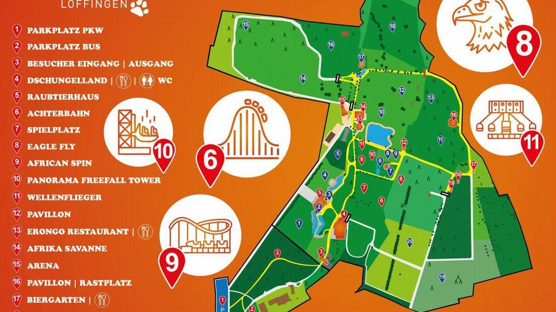 Plano del parque de atracciones de Tatzmania