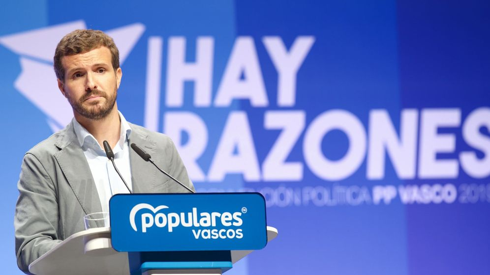 Foto: Pablo Casado, este sábado en la convención del PP vasco. (EFE)