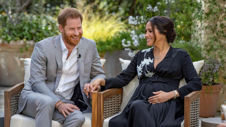 Meghan y Harry, durante su entrevista con Oprah. (Reuters)