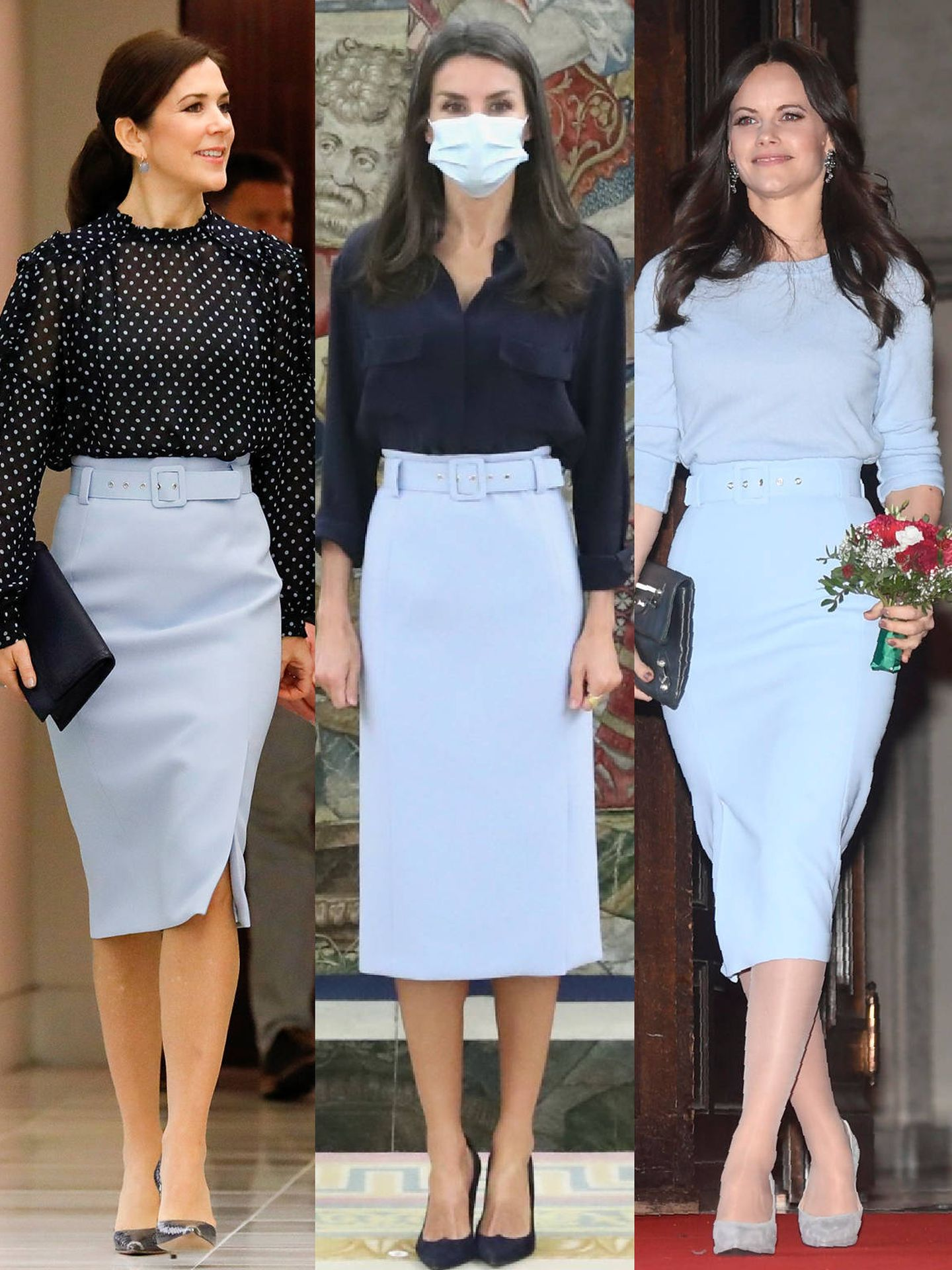 Mary, Letizia y Sofía, con la misma falda. (Getty, LP y Cordon Press)