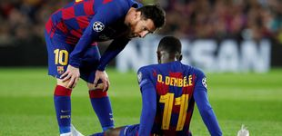 Post de Las lágrimas de Dembélé y su enésima lesión en la noche de un Messi modo Balón de Oro
