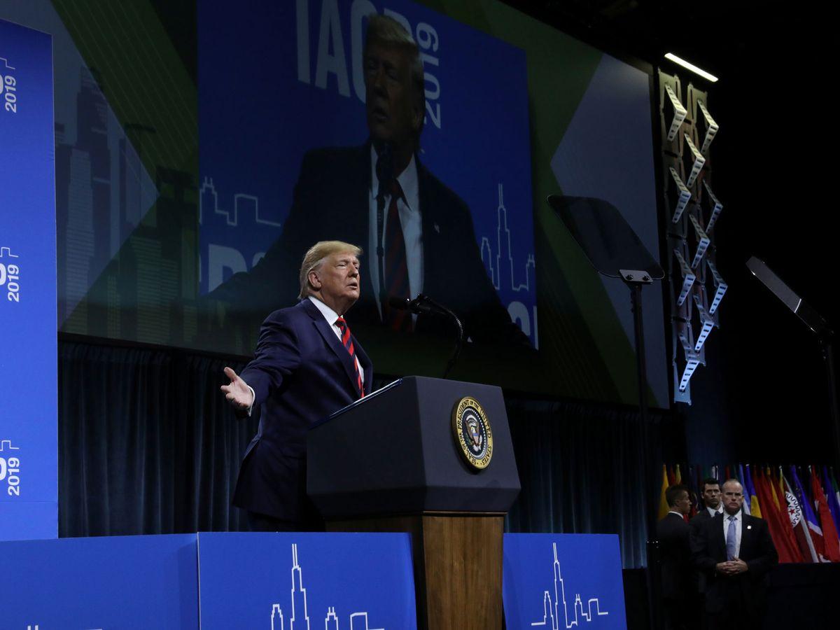 Foto: El presidente de EEUU, Donald Trump, en un discurso en Chicago. (Reuters)
