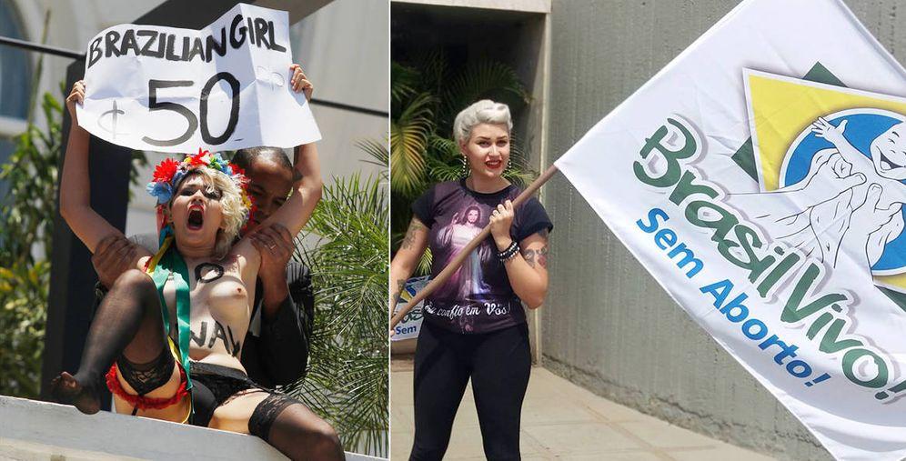 Foto: Sara Winter, antigua líder de Femen en Brasil, ahora partidaria de Jair Bolsonario