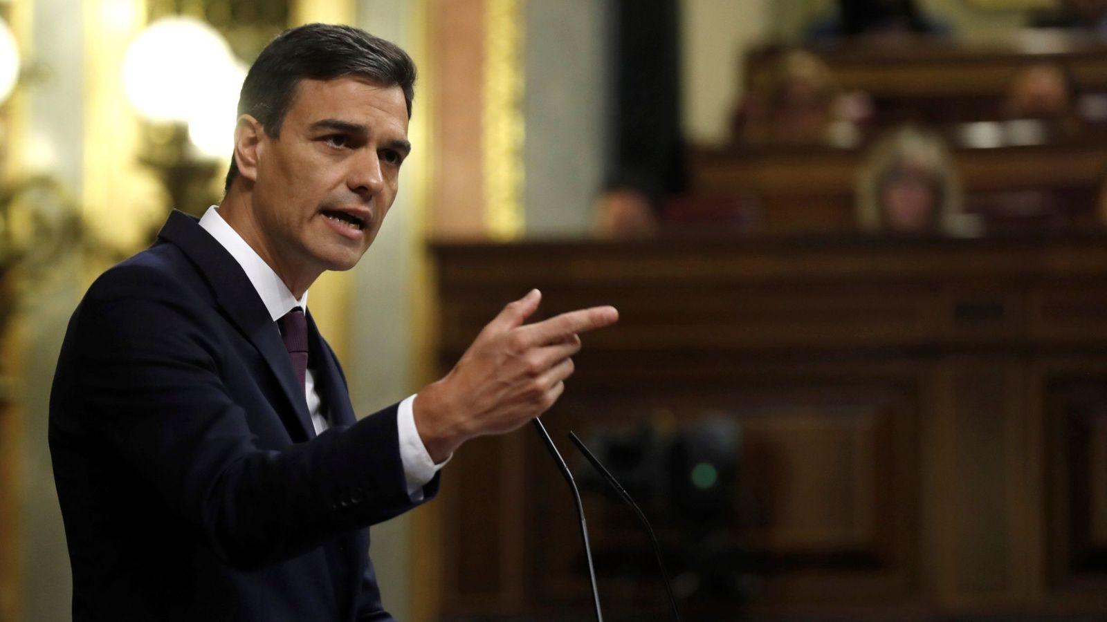 Foto: Pedro Sánchez, durante su comparecencia. (EFE)
