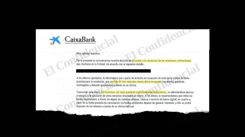 Uno de los avisos emitidos por CaixaBank. (Pinche para leer el documento)