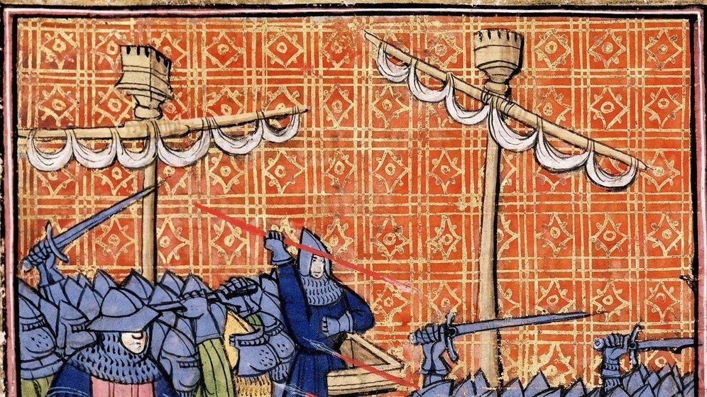 Foto: La batalla de La Rochelle, inmortalizada en una miniatura de la época.