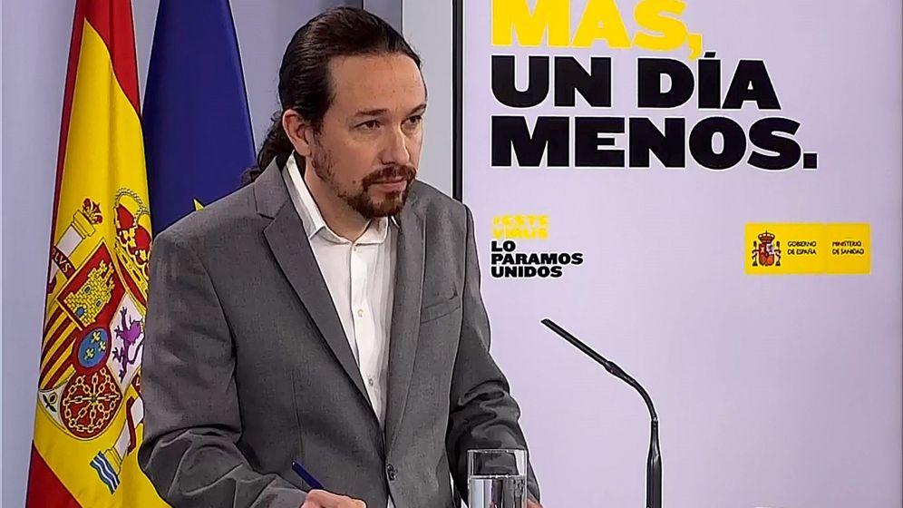 Foto: Captura de la señal institucional del Palacio de la Moncloa del vicepresidente segundo y ministro de Derechos Sociales y Agenda 2030, Pablo Iglesias. (EFE)