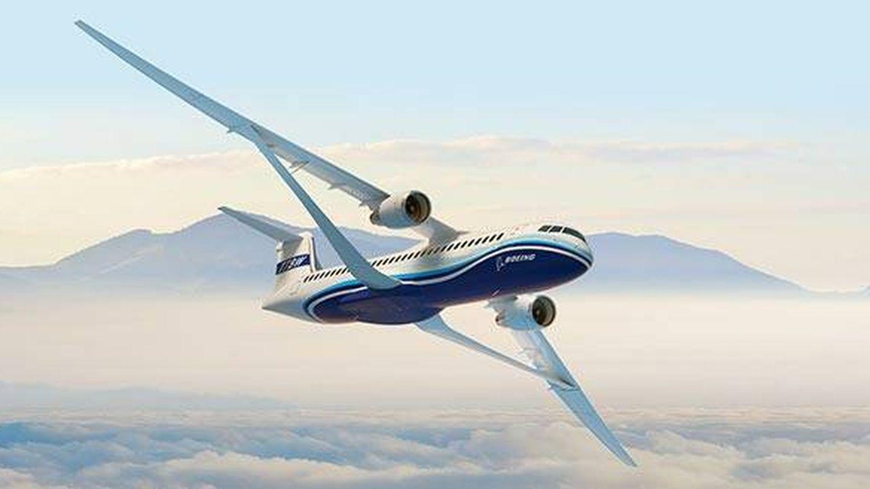 Un render de un avión con ala abrazada al fuselaje (Boeing)