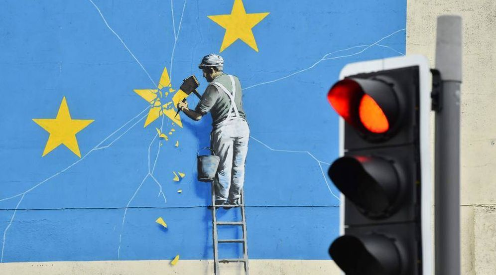 Foto:  Mural de Banksy. (AP)
