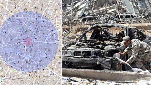 La magnitud de la explosión de Beirut: así sería la zona catastrófica en otras ciudades