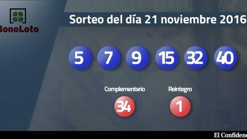 Resultados del sorteo de la Bonoloto del 21 noviembre 2016: números 5, 7, 9, 15, 32, 40