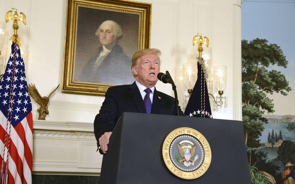 Foto: El presidente de EEUU, Donald Trump, anuncia la operación militar contra el régimen sirio, en Washington. (EFE)