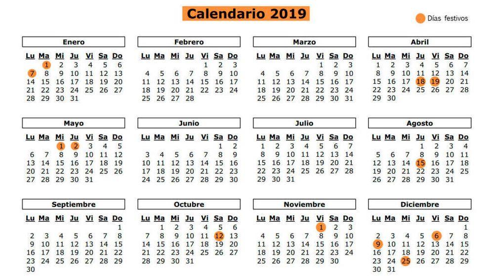 Foto: Calendario laboral 2019 de la Comunidad de Madrid. (El Confidencial)