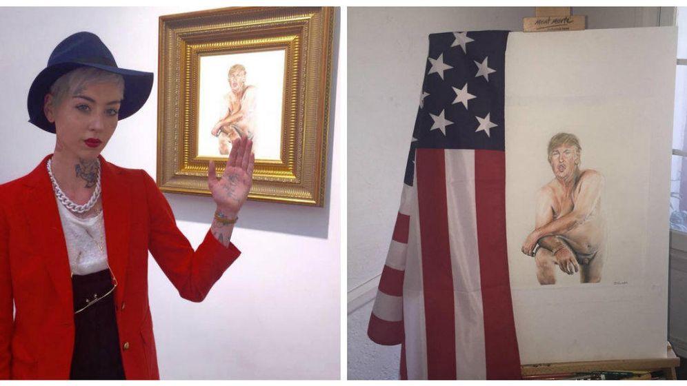 Foto: La artista Illma Gore posa junto a su obra en Londres. (Instagram)