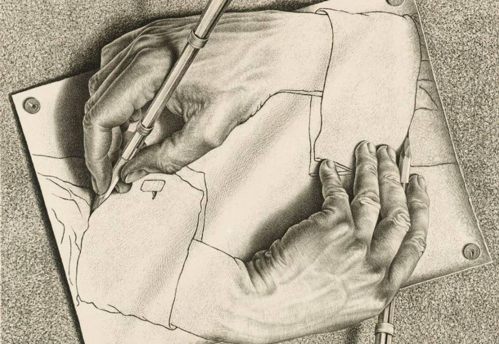 Foto: Escher - 'Drawing Hands' (1948)