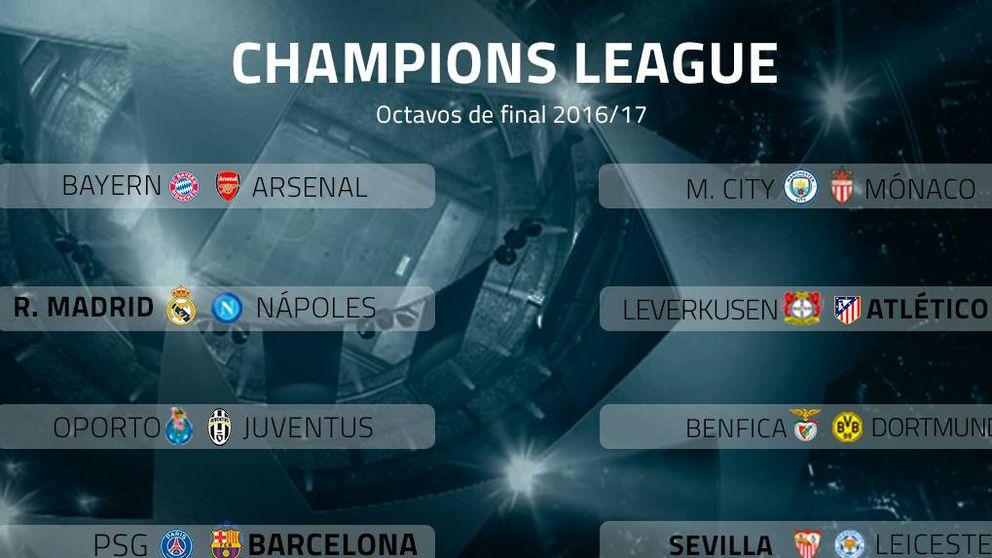 Real Madrid-Nápoles, Leverkusen-Atlético, PSG-Barça  y Sevilla-Leicester, en octavos