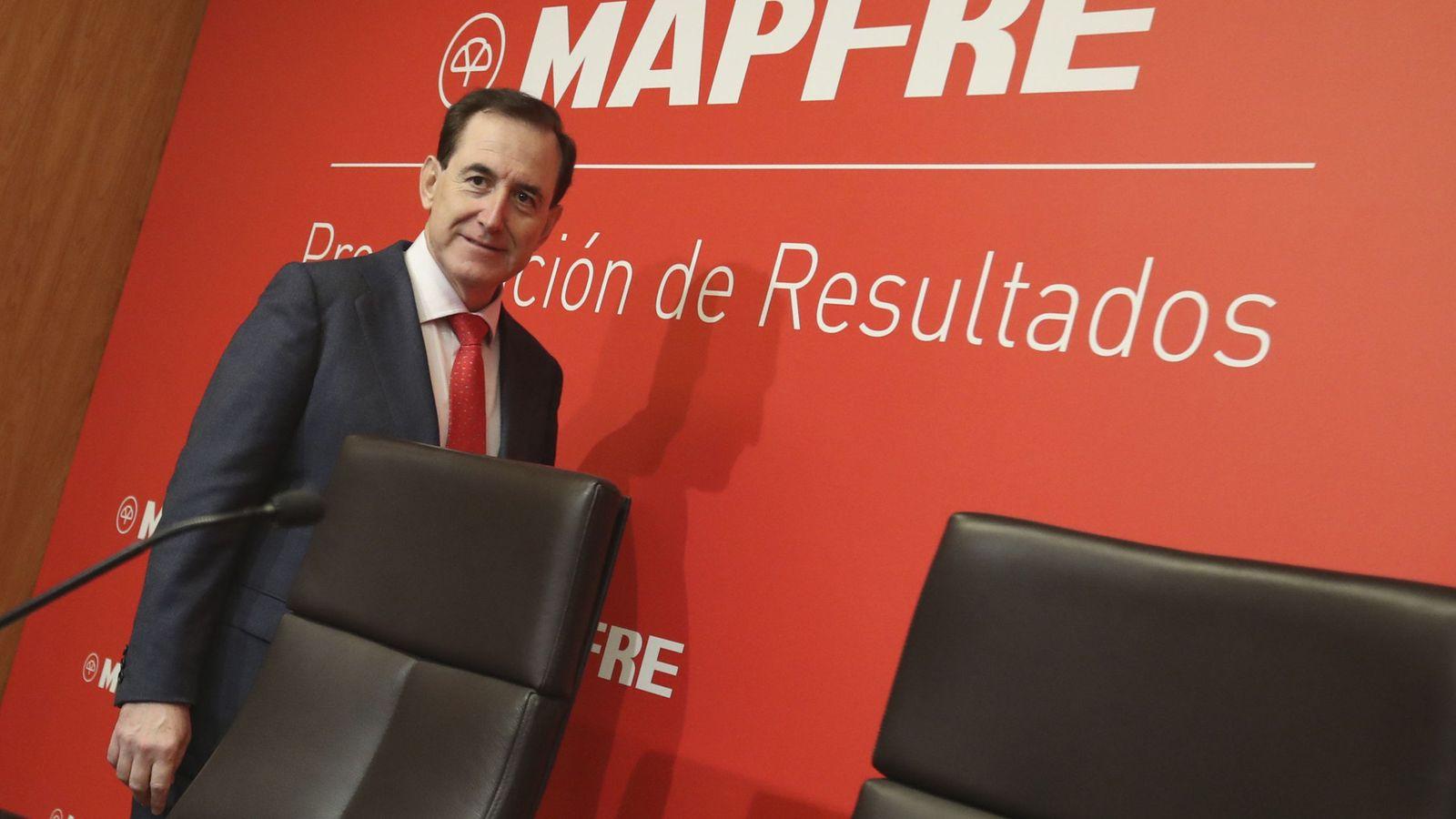 Foto: El presidente de Mapfre, Antonio Huertas, durante la rueda de prensa en la que ofreció los resultados del grupo. (EFE)