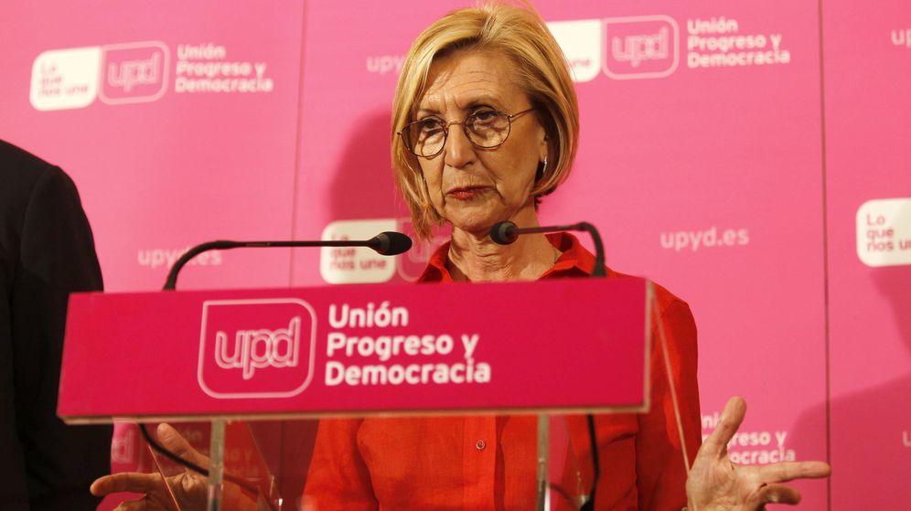 Foto: Rosa Díez, portavoz de UPyD, tras comparecer para comentar los resultados electorales. (EFE)