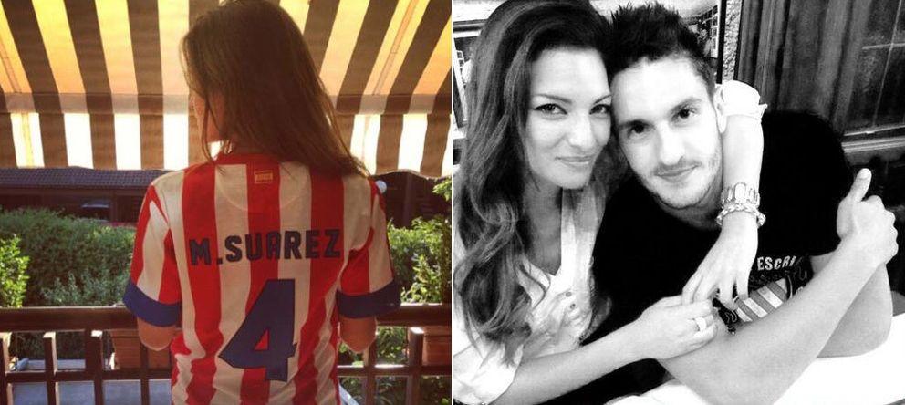 Foto: Malena Costa con la camiseta de Mario Suárez y Koko Resurreccióin con su novia Beatriz (Instagram/Twitter)
