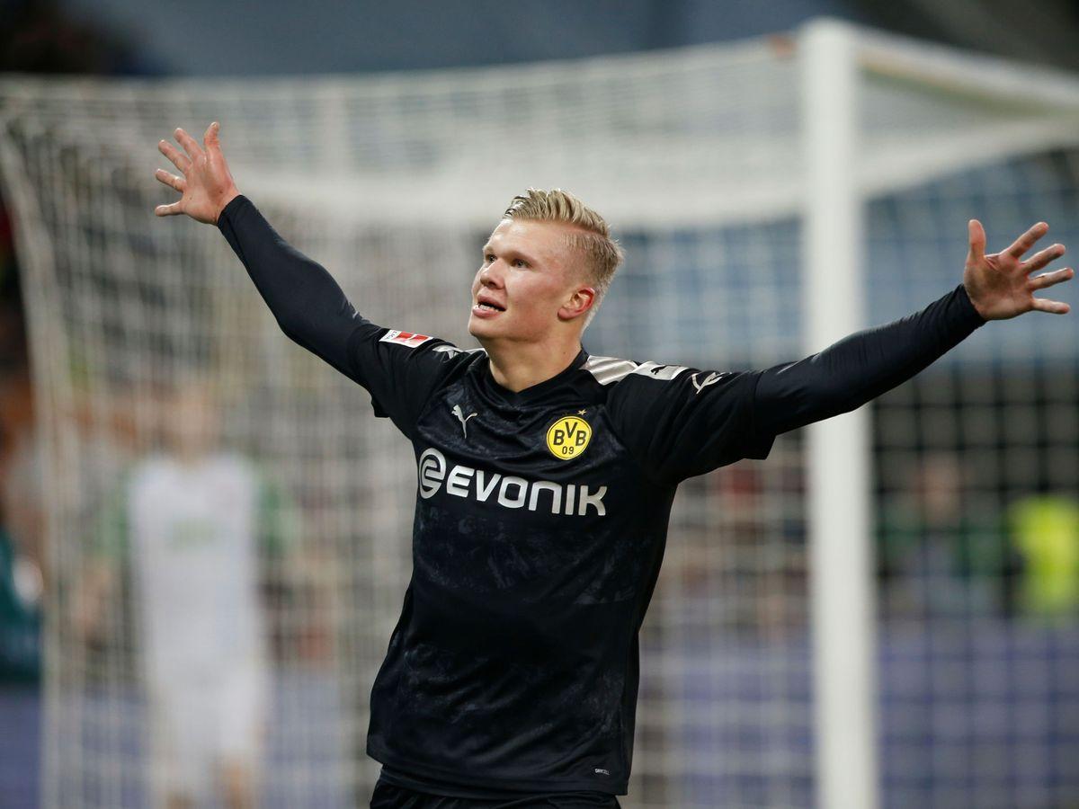 Foto: Erling Braut Haaland celebra su tercer gol en la victoria del Borussia Dortmund. (Reuters)