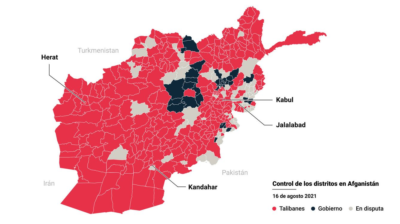 Foto: Mapa de la toma talibán de Afganistán