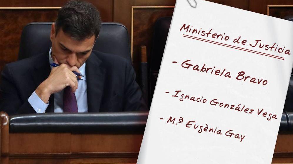 Foto: Pedro Sánchez baraja varios nombres para sustituir a Delgado en Justicia. (Montaje: EC)