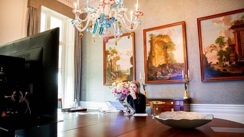 Máxima, este jueves en la sala de conferencias de Huis ten Bosch. (Casa Real)