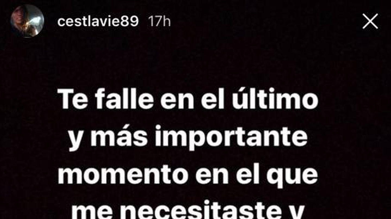 mensaje de la hermana de Celia Fuentes en Instagram.