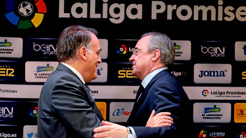 Javier Tebas, presidente de LaLiga, y Florentino Pérez, presidente del Real Madrid. (EFE)