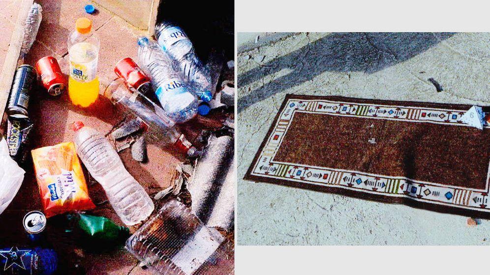 Foto: Restos de alcohol y una alfombra para rezar abandonados por los terroristas que actuaron en Cambrils. (Montaje: E. Villarino)