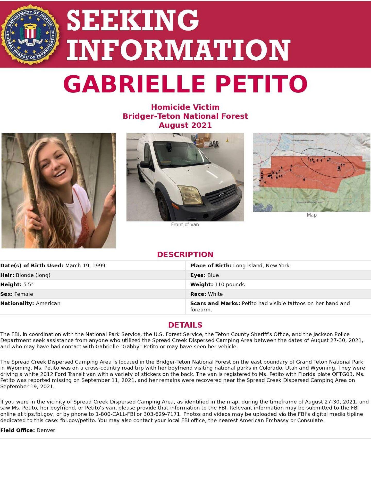 Imagen de Petito, la furgoneta en la que viajaba con su novio y el mapa del lugar en el que hallaron el cuerpo, cedidas por el FBI de Denver.
