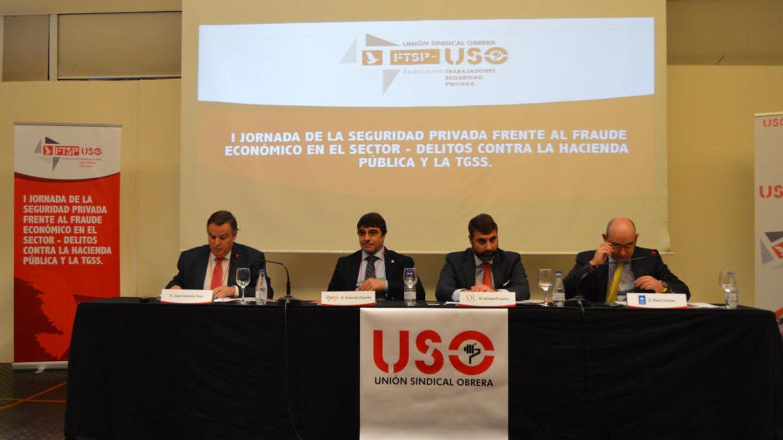 Foto: Ponentes de la primera Jornada de seguidad privada USO. (Foto: Unión Sindical Obrera)