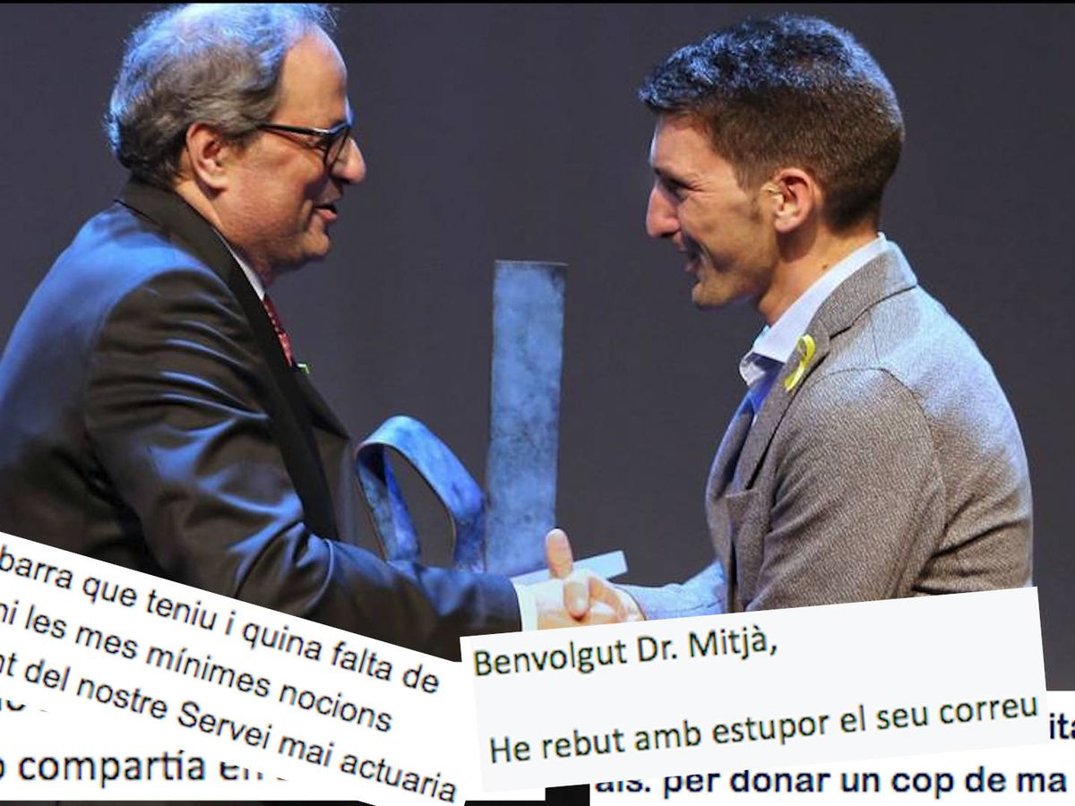 Foto: Oriol Mitjà recibiendo el premio 'Catalán del Año' de manos de Quim Torra. Abajo, extractos de la cadena de correos