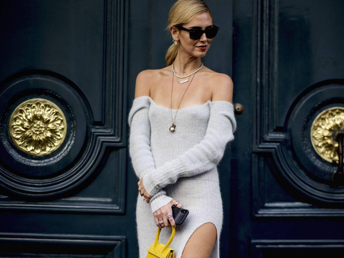Foto: La influencer Chiara Ferragni con un vestido de punto. (Imaxtree)