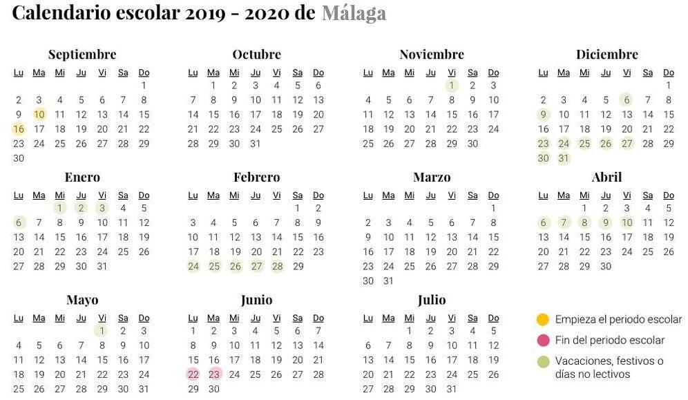 Calendario Escolar Europa 2019.Calendario Escolar De 2019 2020 En Malaga Vacaciones Y