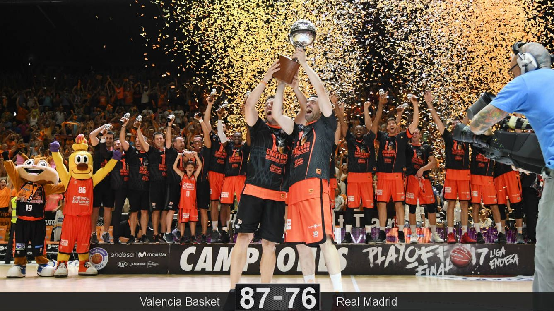 Foto: Rafa Martínez y San Van Rossom levantaron el trofeo de campeón de la Liga Endesa. (ACB Photo)