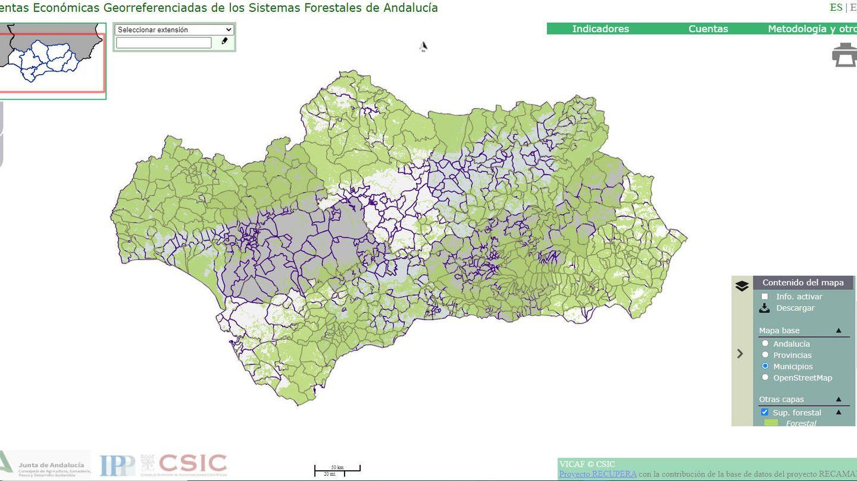 Un ejemplo de la herramienta: el mapa de la producción de corcho en Andalucía.