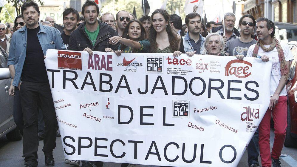 Foto: Protesta de actores frente a la Secretaría de Estado de Cultura. Foto: Ballesteros/EFE
