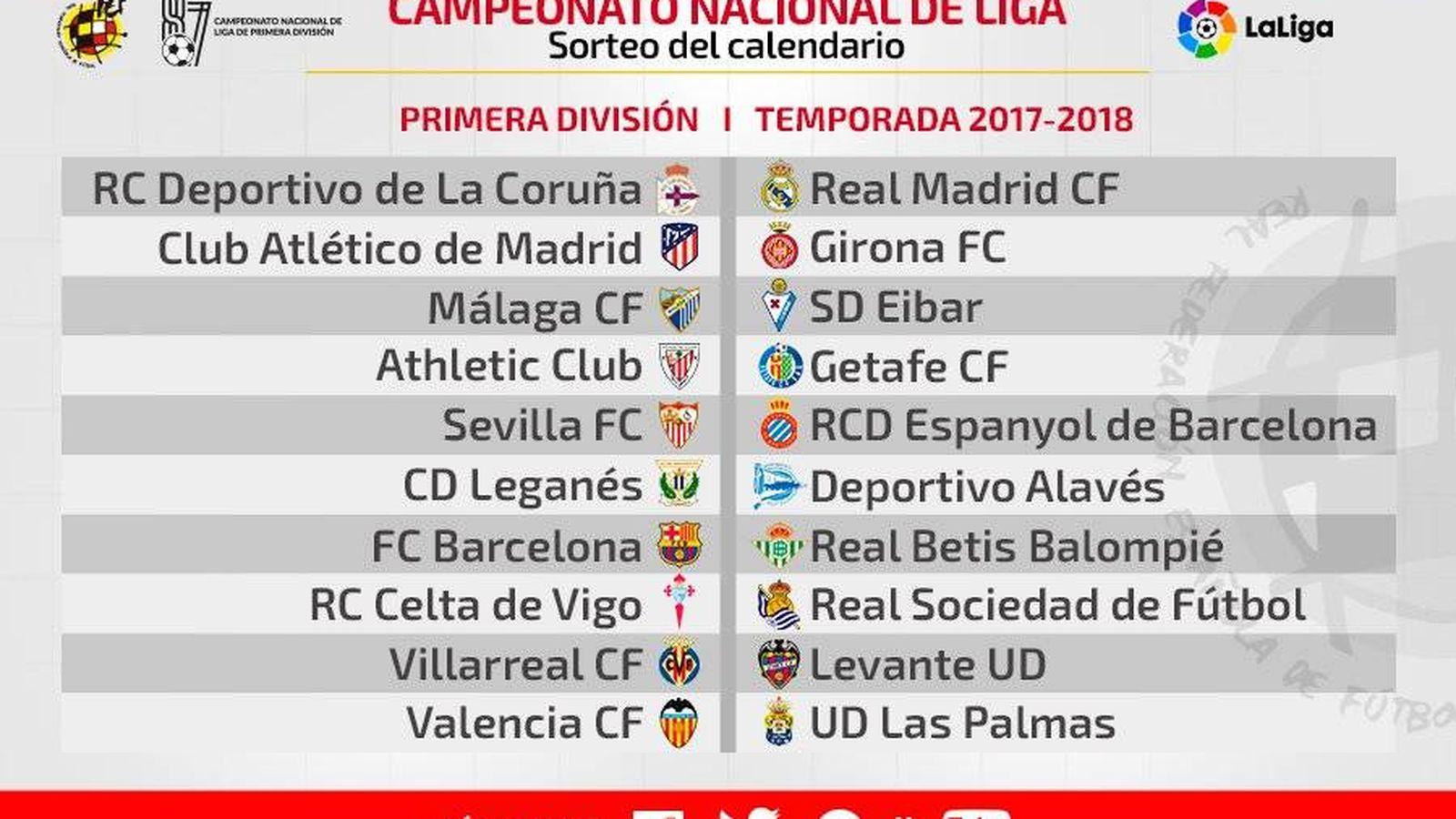 Calendario De La Liga Espanola De Futbol.Sorteo El Real Madrid Barcelona Se Juega El 20 De Diciembre Y El De