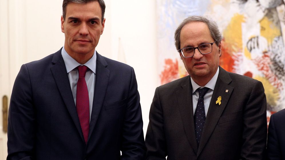 Foto: Pedro Sánchez y Quim Torra, durante su encuentro en Pedralbes. (Reuters)