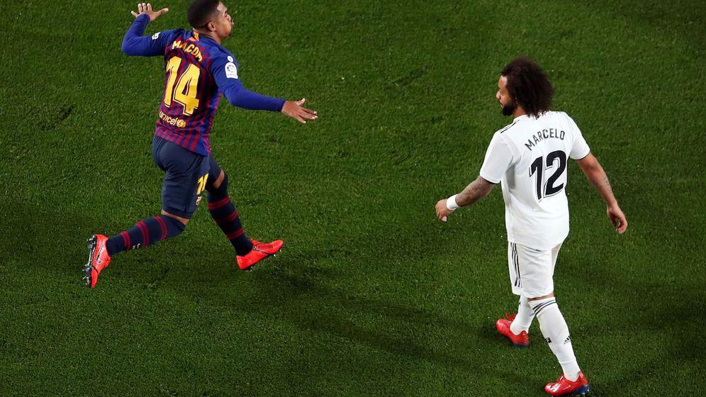 Foto: Malcom celebra su gol ante la presencia de Marcelo. (EFE)