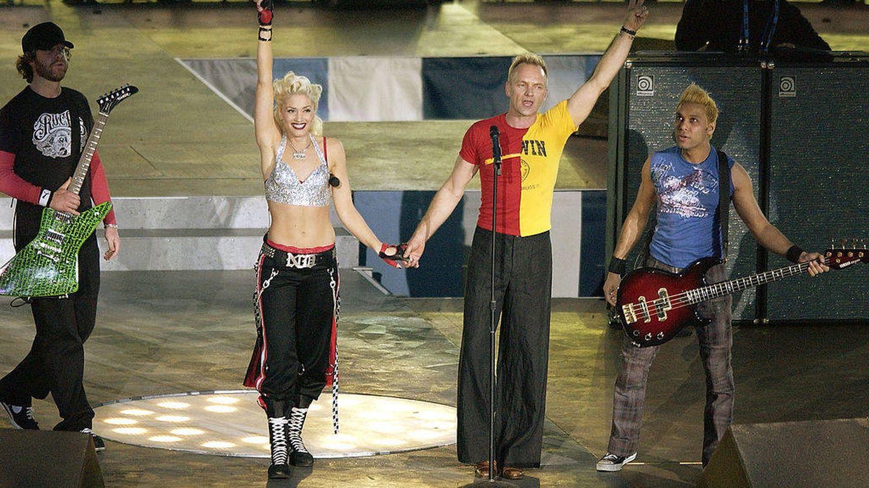 Gwen Stefani, en la Super Bowl. (Getty)