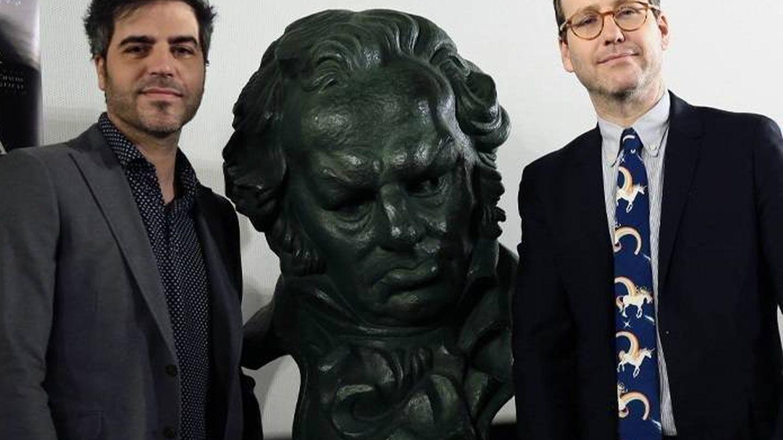 Ernesto Sevilla y Joaquin Reyes, en la presentación de los Goya 2018. (Cordon Press)