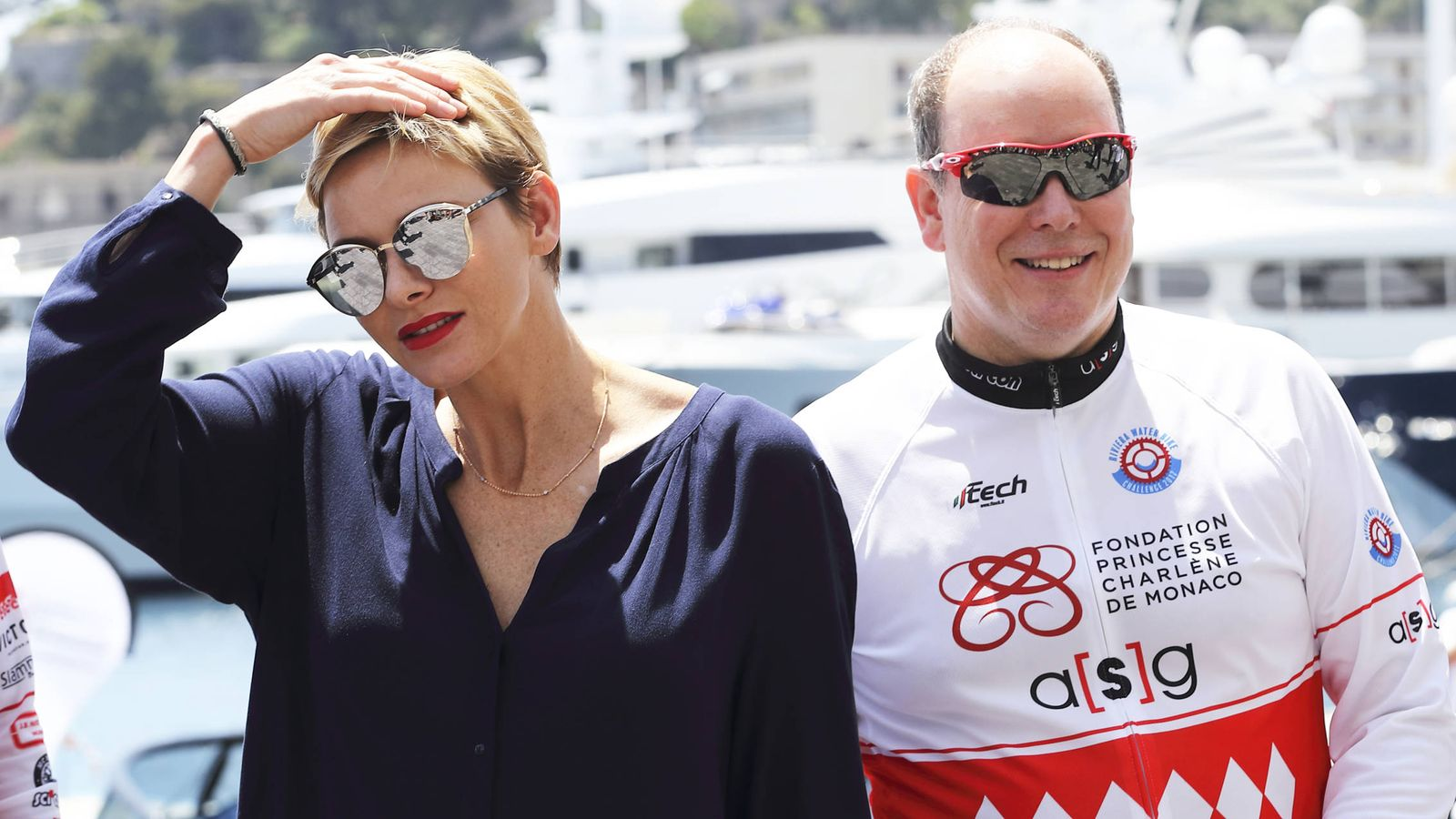Foto: Charlène y Alberto durante la Riviera Water Bike Challenge. (Gtres)