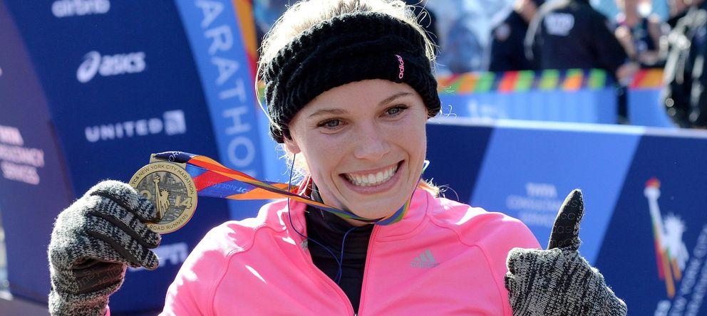 Foto: Caroline Wozniacki, en el Maratón de Nueva York (Efe).