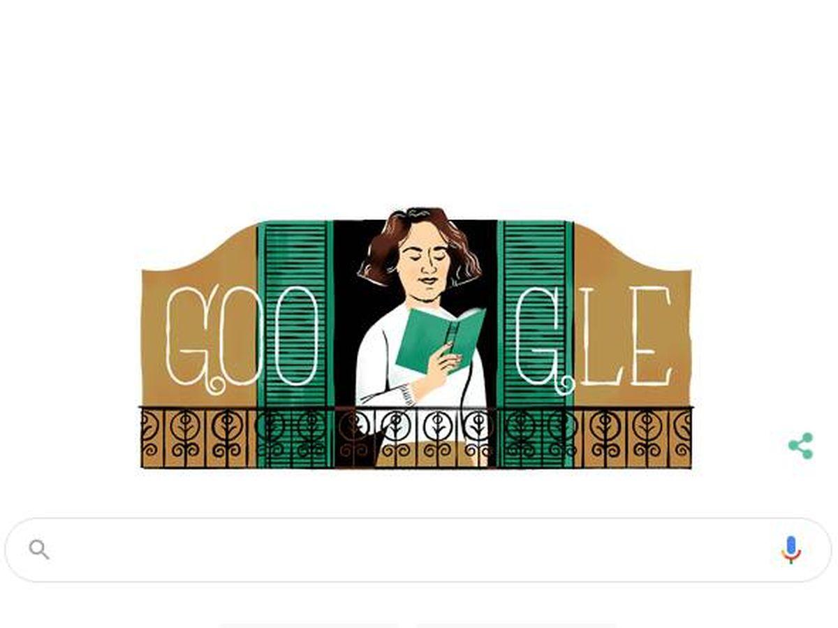 Foto: El doodle de Google que conmemora los 100 años desde la muerte de Carmen Laforet. (Google)